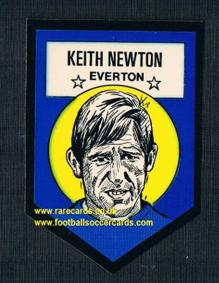 1972 BAB unused Shooting Stars Everton Keith Newton DARK with backing paper